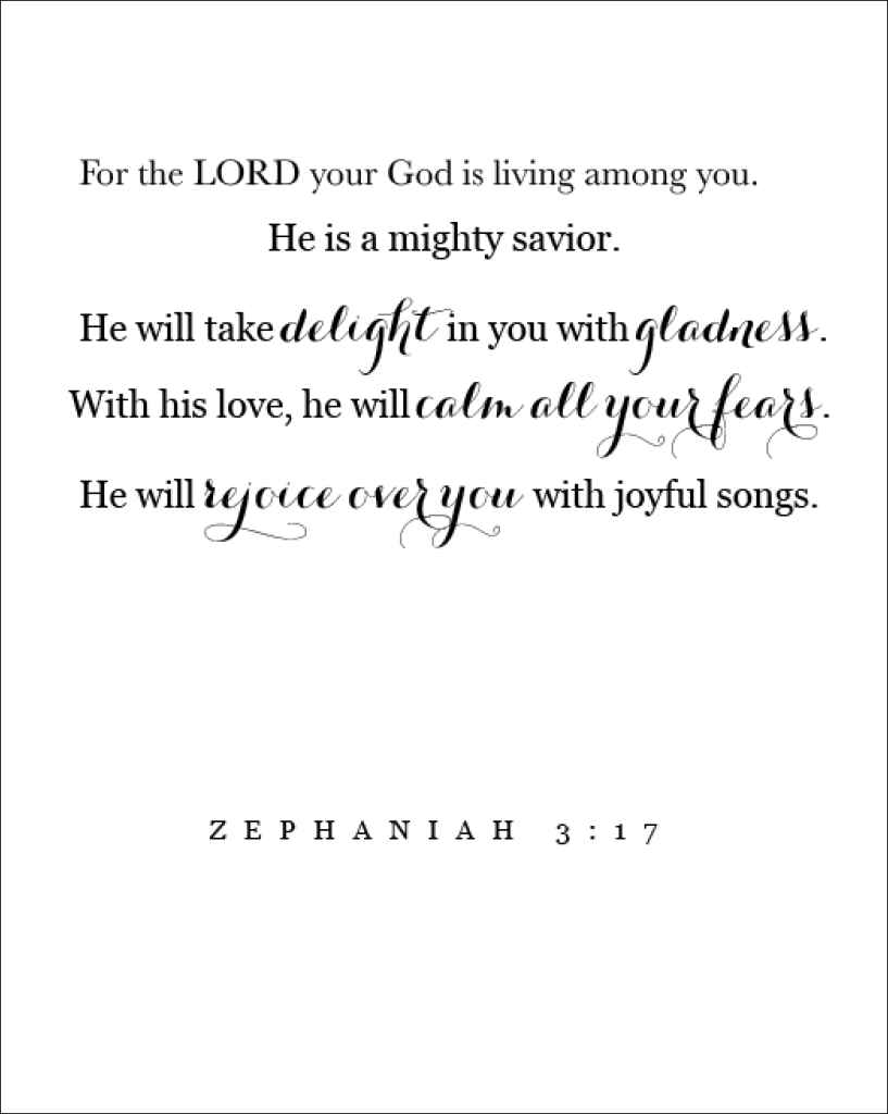 Zephania 3:17 Free Printable - The Beautiful Deep